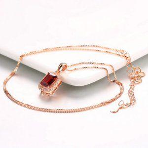 Red Garnet rose gold necklace halo elegant new
